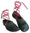 "This is a thumbnail image of a pair of handmade shoes called ""Party Shoes with Red Ankle Ties""."
