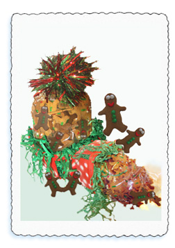 The over thirteen dozen tiny decorated gingerbread men ar packed in one pound gift packs.