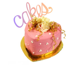 graphic of a pink heart shaped cake and decorative font spelling the word cakes