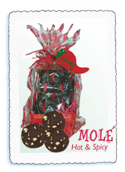 The mole´cookies are chocolate with white chocolate chunks. They are hot and spicy!